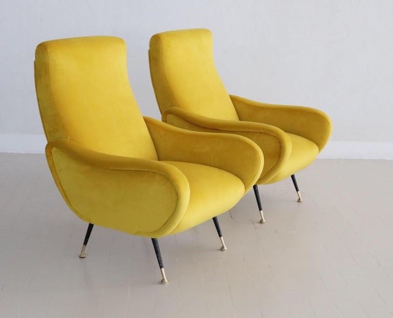 Mid-Century Modern Italian Vintage Armchairs in Yellow Velvet and Brass Stiletto Feet, 1950s For Sale