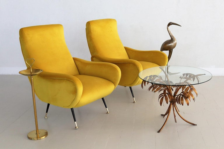 Mid-20th Century Italian Vintage Armchairs in Yellow Velvet and Brass Stiletto Feet, 1950s For Sale