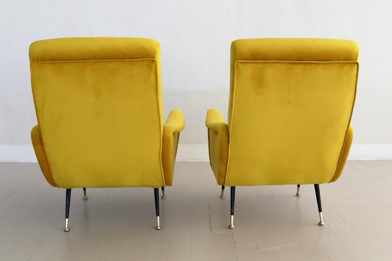 Italian Vintage Armchairs in Yellow Velvet and Brass Stiletto Feet, 1950s For Sale 3