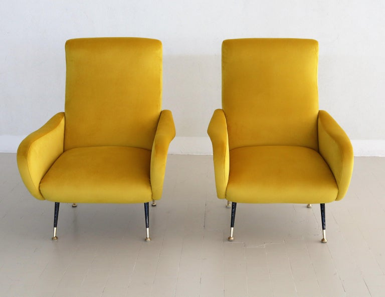 Italian Vintage Armchairs in Yellow Velvet and Brass Stiletto Feet, 1950s For Sale 4