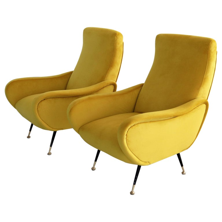 Italian Vintage Armchairs in Yellow Velvet and Brass Stiletto Feet, 1950s For Sale