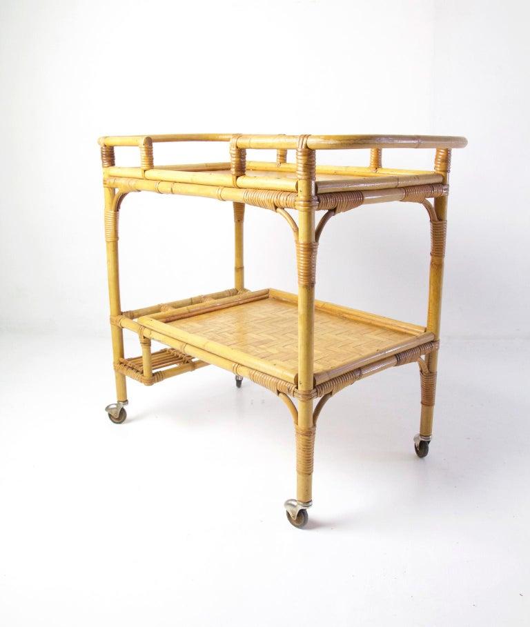 Mid-Century Modern Italian Vintage Bamboo Rattan Bar Cart For Sale