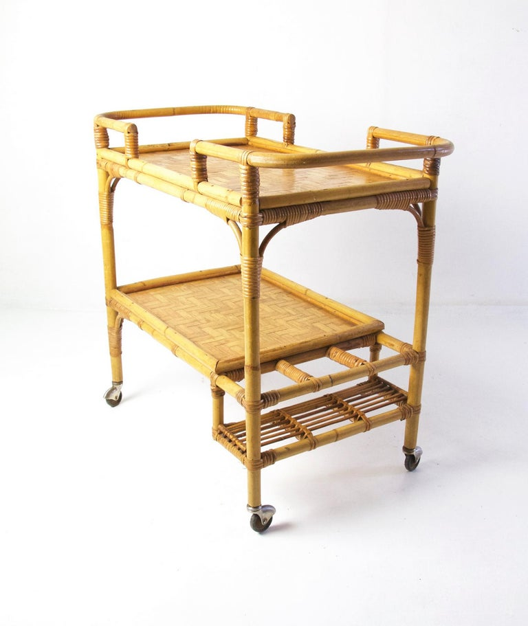 20th Century Italian Vintage Bamboo Rattan Bar Cart For Sale