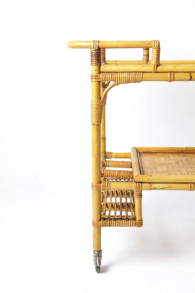 Italian Vintage Bamboo Rattan Bar Cart For Sale 1