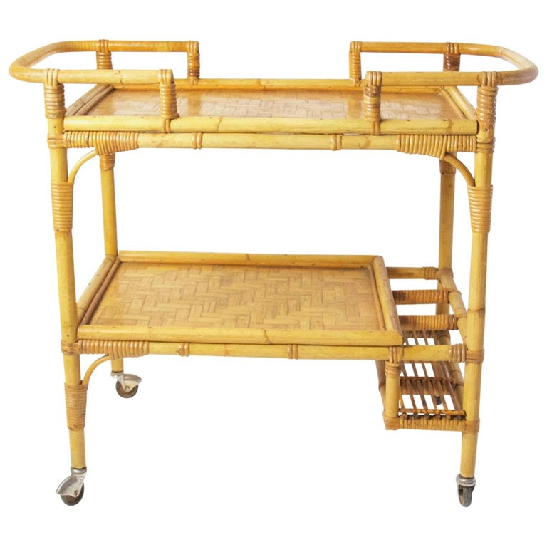 Italian Vintage Bamboo Rattan Bar Cart For Sale