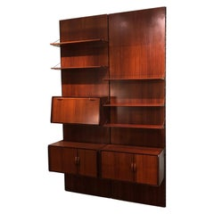 Italian Vintage Black Detail and Rosewood Equipped Wood Wall Bookcase, 1980s