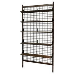 Italian Vintage Black Metal Grid and Teak Shelves Wall Bookcase, 1960s