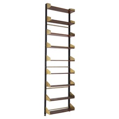 Italian Vintage Bookcase by Feal in Wood and Brass