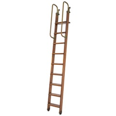 Italian Vintage Bookcase Ladder in Brass and Wood