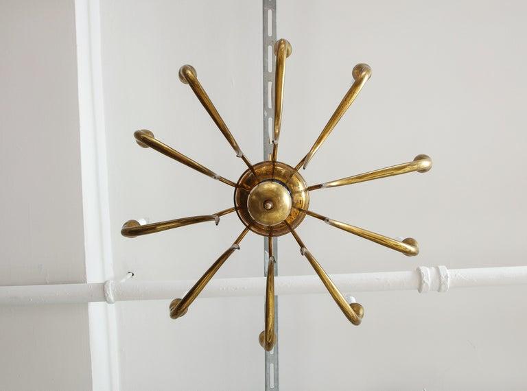 Italian Vintage Brass Ten Light Chandelier For Sale 5