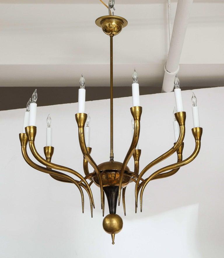 Mid-Century Modern Italian Vintage Brass Ten Light Chandelier For Sale