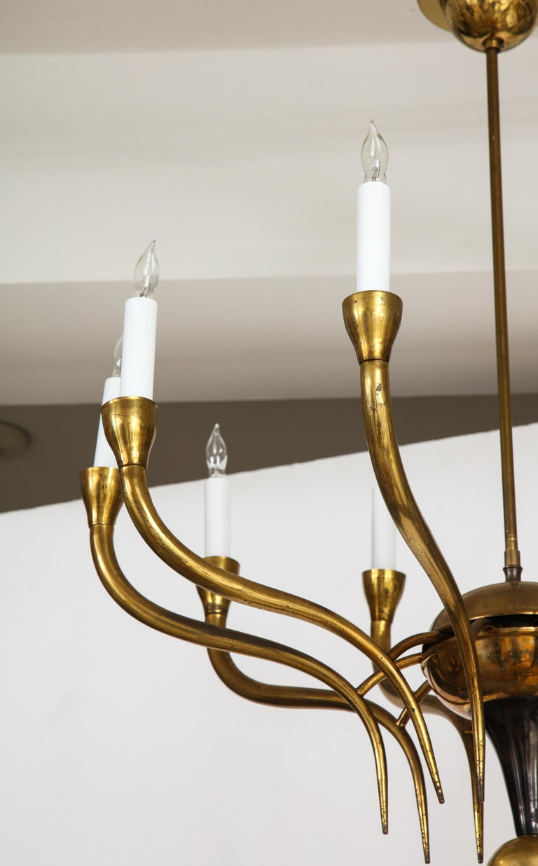 Italian Vintage Brass Ten Light Chandelier In Good Condition For Sale In New York, NY
