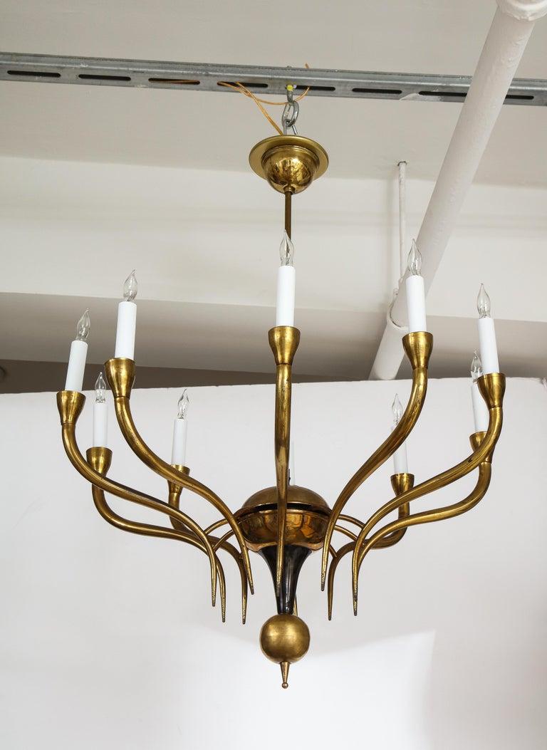 Mid-20th Century Italian Vintage Brass Ten Light Chandelier For Sale