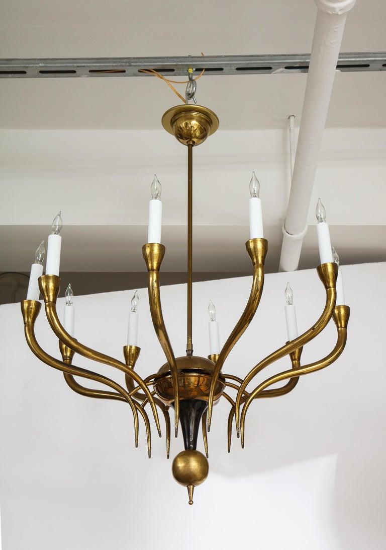 Italian Vintage Brass Ten Light Chandelier For Sale 1