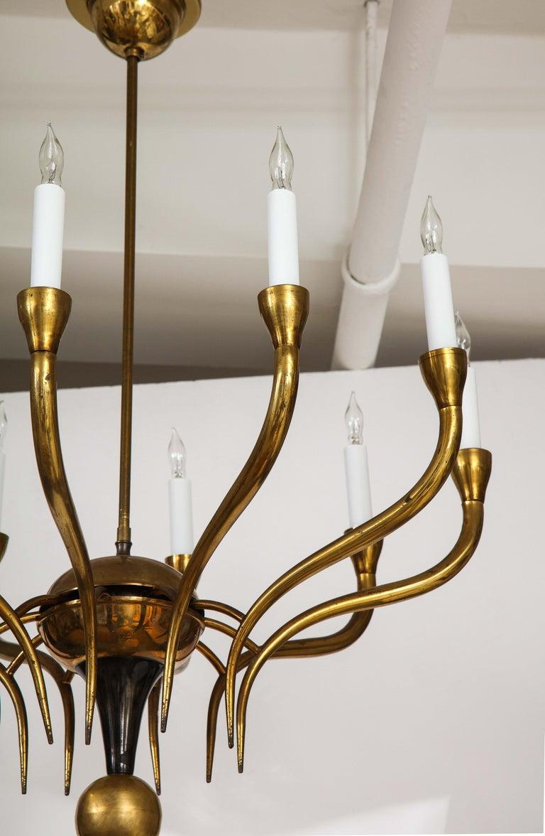 Italian Vintage Brass Ten Light Chandelier For Sale 2