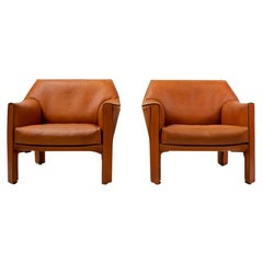Italian Vintage Cab 415 Armchairs by Mario Bellini for Cassina, Set of 2