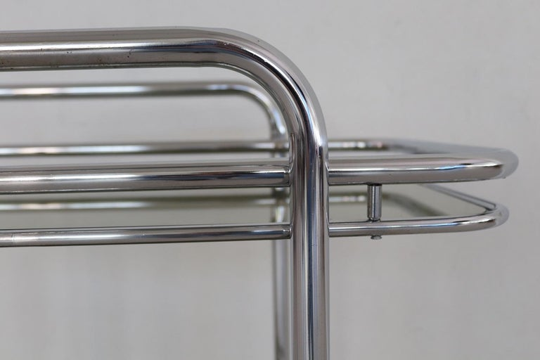 Italian Vintage Chrome Bar Cart or Serving Trolley, 1970s 5