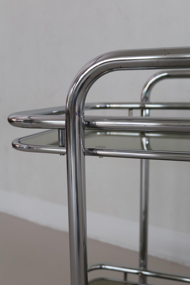 Italian Vintage Chrome Bar Cart or Serving Trolley, 1970s 6