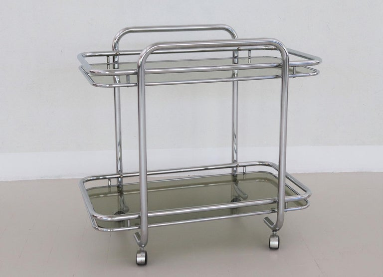 Mid-Century Modern Italian Vintage Chrome Bar Cart or Serving Trolley, 1970s