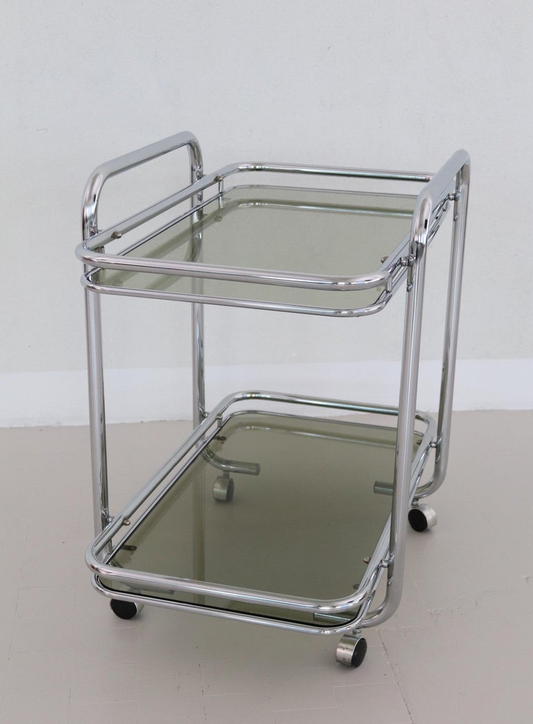 Late 20th Century Italian Vintage Chrome Bar Cart or Serving Trolley, 1970s