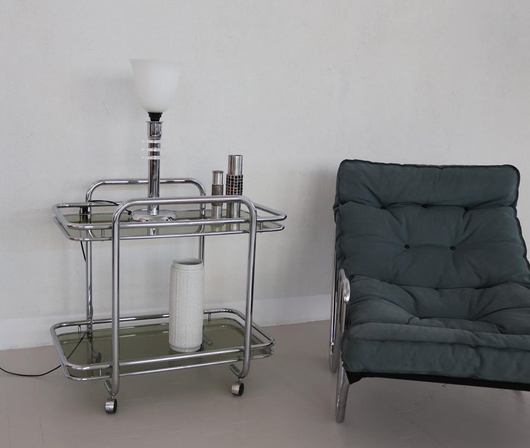 Smoked Glass Italian Vintage Chrome Bar Cart or Serving Trolley, 1970s