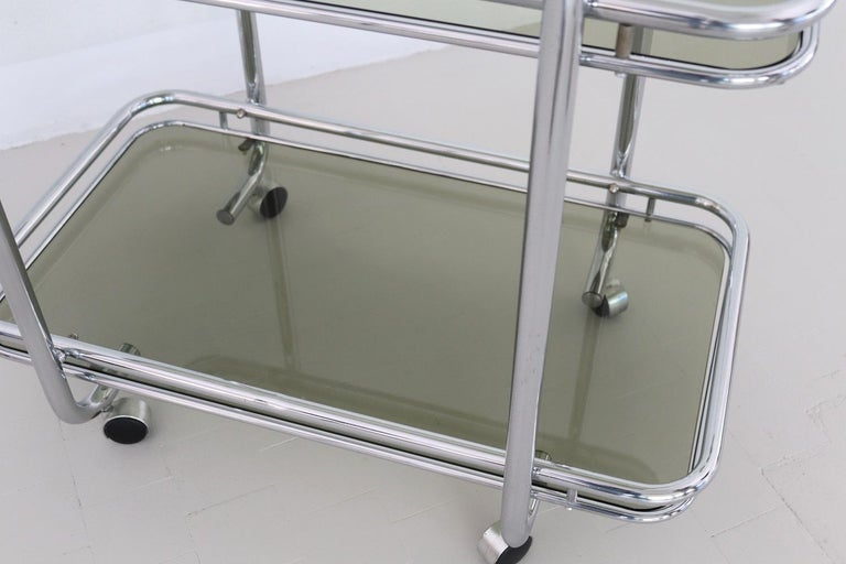 Italian Vintage Chrome Bar Cart or Serving Trolley, 1970s 1
