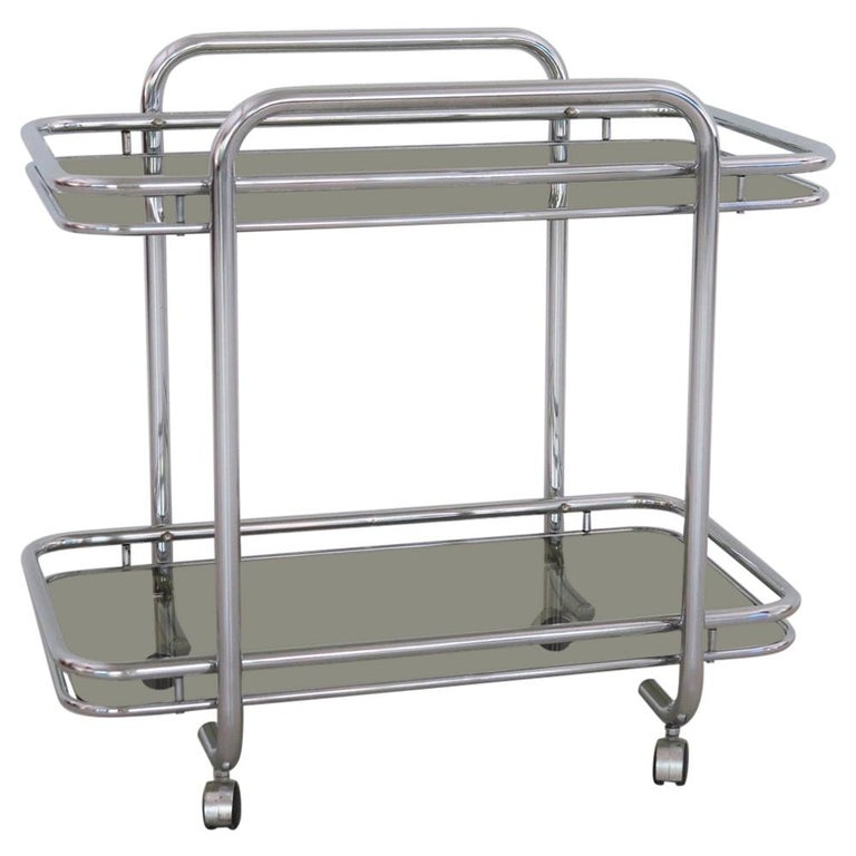 Italian Vintage Chrome Bar Cart or Serving Trolley, 1970s
