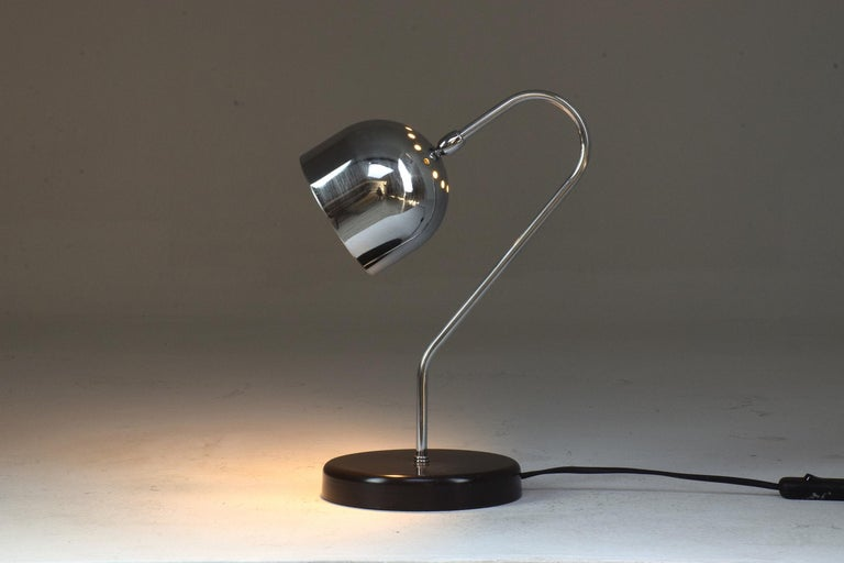 A 20th century Italian vintage tubular chrome table or desk lamp circa 1960s.   We are an exhibition space and an online destination established by Jonathan Amar Studio. All our pieces are fully restored at our atelier and we only offer items that