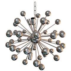 Italian Vintage Chromed Steel Sputnik Chandelier by Valenti, 1970s