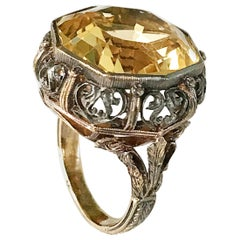Italian Vintage Citrine Gold and Silver Ring