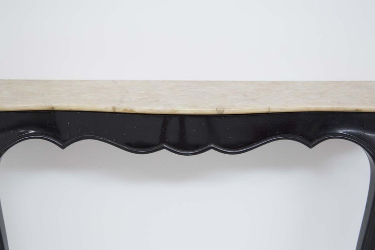 Lacquered Italian Vintage Console in Marble and Wood by Carlo Enrico Rava For Sale
