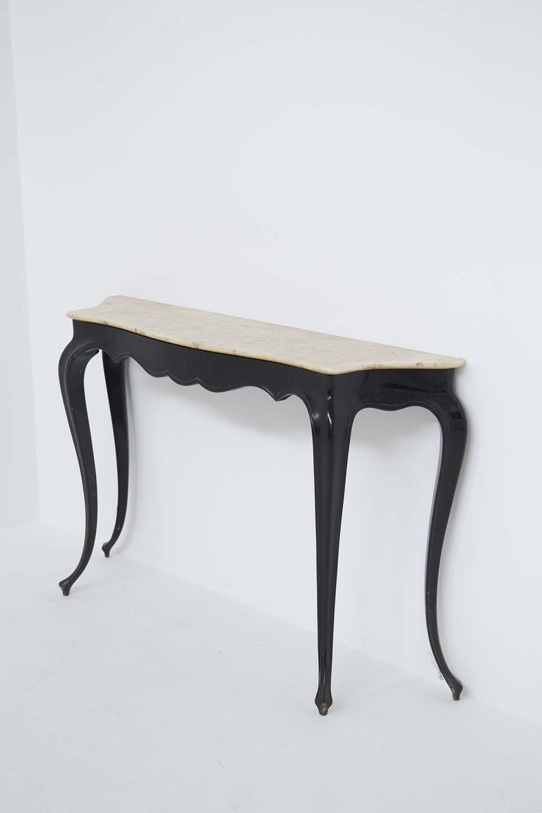 Italian Vintage Console in Marble and Wood by Carlo Enrico Rava For Sale 1