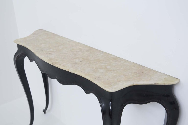 Italian Vintage Console in Marble and Wood by Carlo Enrico Rava For Sale 2