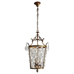 Italian Vintage Crystal Chandelier or Lantern with Bronze Frame, 1950s