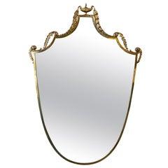 Italian Vintage Curvilinear Brass Mirror, 1950s