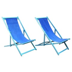 Italian Vintage Deckchair in Light-Blue Wooden Structure and Blue Fabric, 1960s