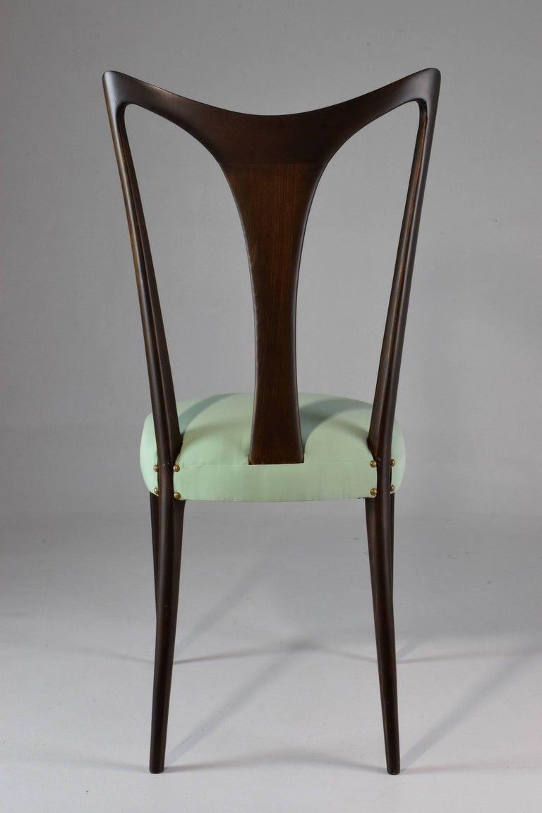 Italian Vintage Dining Chairs Attributed to Guglielmo Ulrich, Set of Six, 1940s For Sale 3