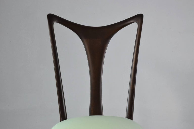 Italian Vintage Dining Chairs Attributed to Guglielmo Ulrich, Set of Six, 1940s For Sale 4