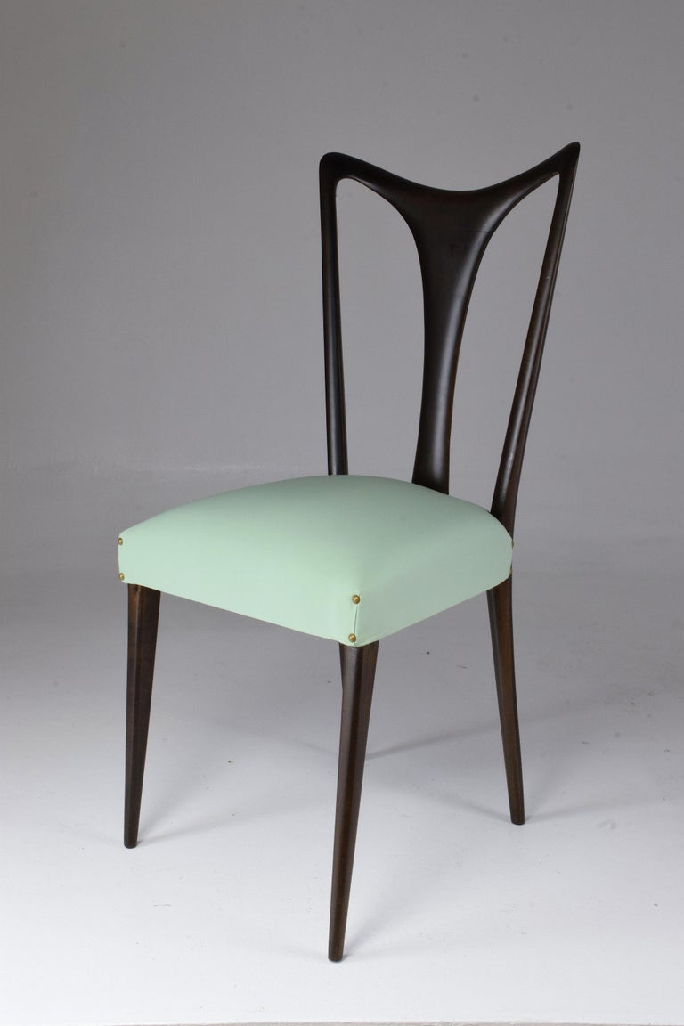 Italian Vintage Dining Chairs Attributed to Guglielmo Ulrich, Set of Six, 1940s For Sale 8