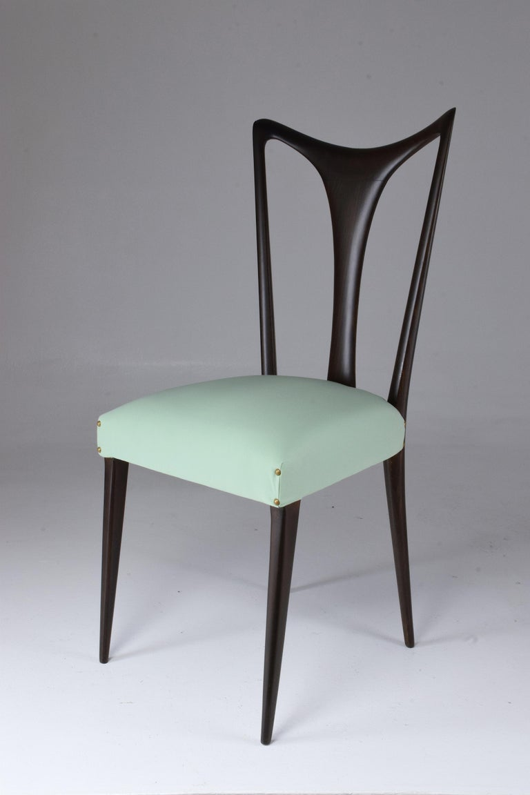 Italian Vintage Dining Chairs Attributed to Guglielmo Ulrich, Set of Six, 1940s For Sale 9