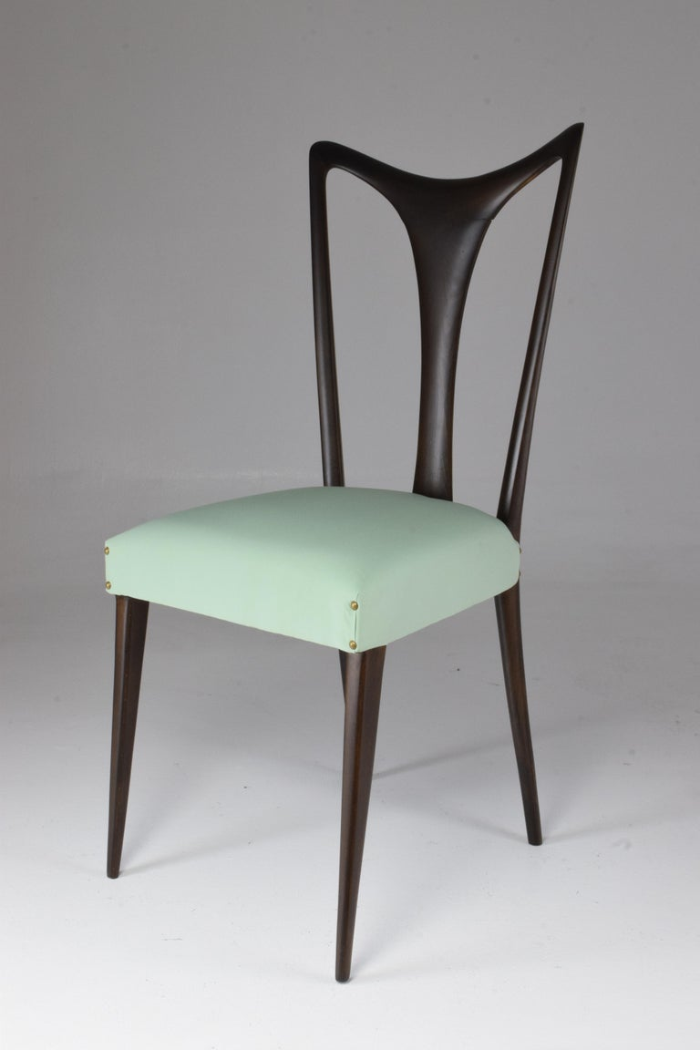 Italian Vintage Dining Chairs Attributed to Guglielmo Ulrich, Set of Six, 1940s For Sale 10
