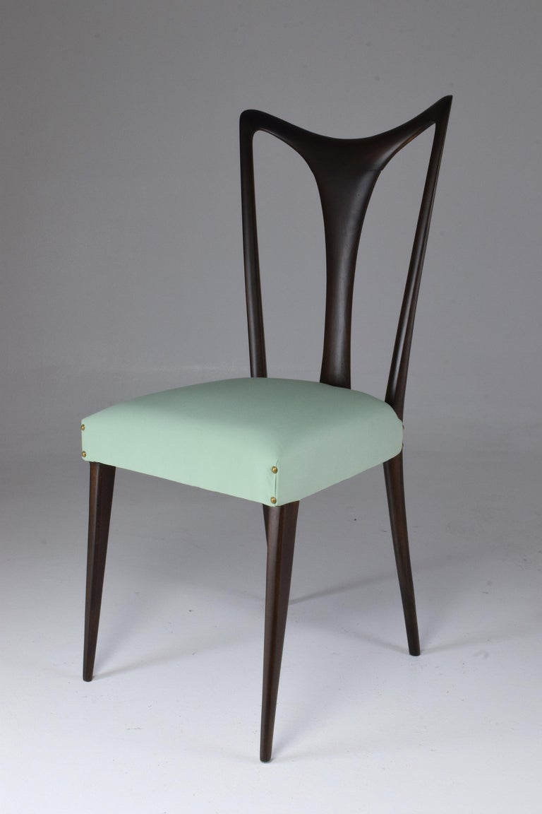 Italian Vintage Dining Chairs Attributed to Guglielmo Ulrich, Set of Six, 1940s For Sale 11