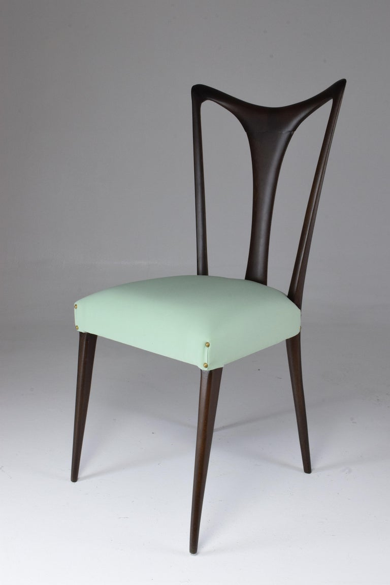Italian Vintage Dining Chairs Attributed to Guglielmo Ulrich, Set of Six, 1940s For Sale 12