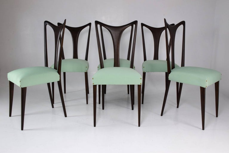 Mid-Century Modern Italian Vintage Dining Chairs Attributed to Guglielmo Ulrich, Set of Six, 1940s For Sale