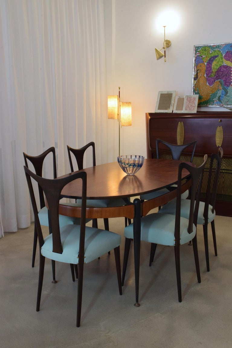 Ebonized Italian Vintage Dining Chairs Attributed to Guglielmo Ulrich, Set of Six, 1940s For Sale