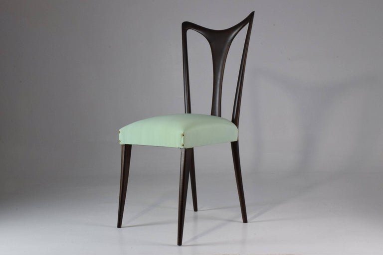 Italian Vintage Dining Chairs Attributed to Guglielmo Ulrich, Set of Six, 1940s In Good Condition For Sale In Paris, FR