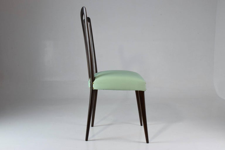 Wood Italian Vintage Dining Chairs Attributed to Guglielmo Ulrich, Set of Six, 1940s For Sale
