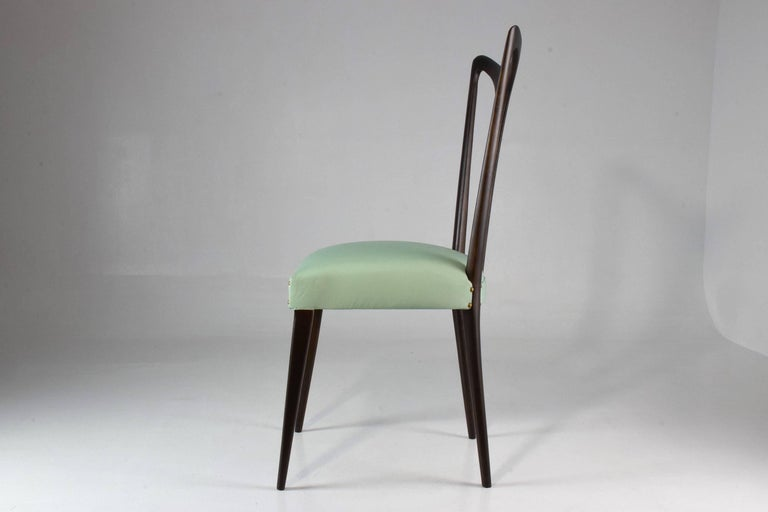 Italian Vintage Dining Chairs Attributed to Guglielmo Ulrich, Set of Six, 1940s For Sale 1