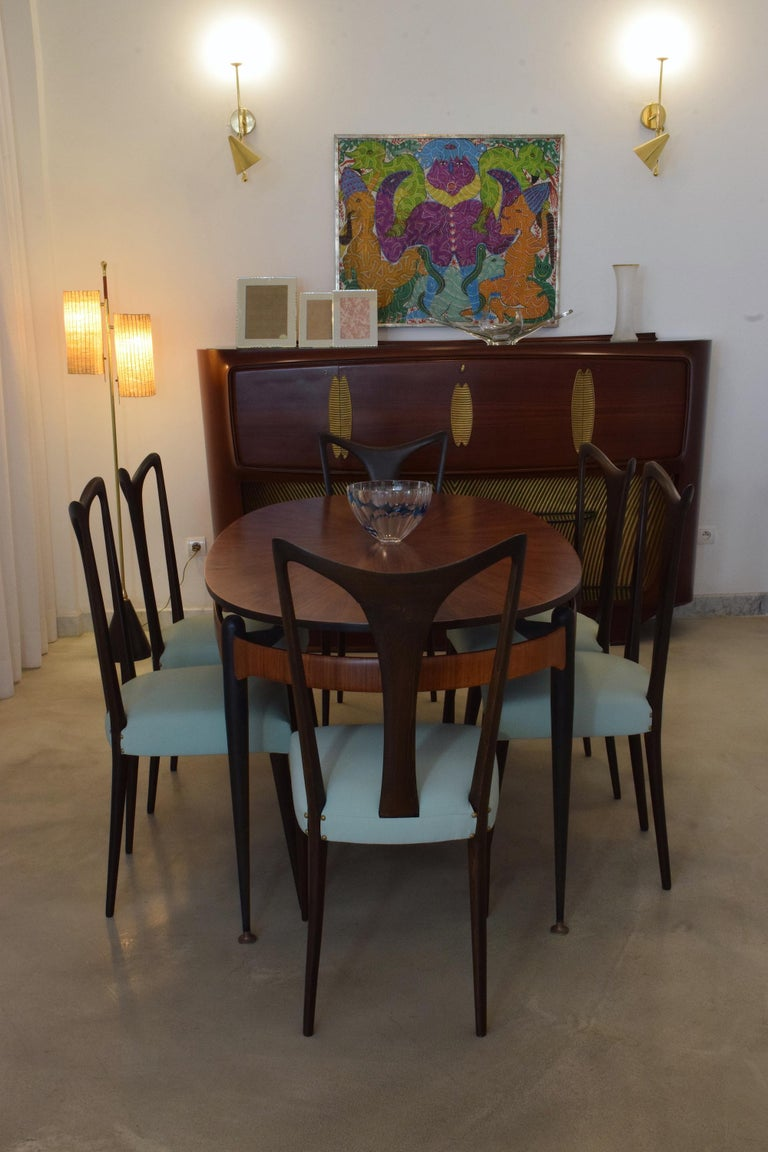 Italian Vintage Dining Chairs Attributed to Guglielmo Ulrich, Set of Six, 1940s For Sale 2