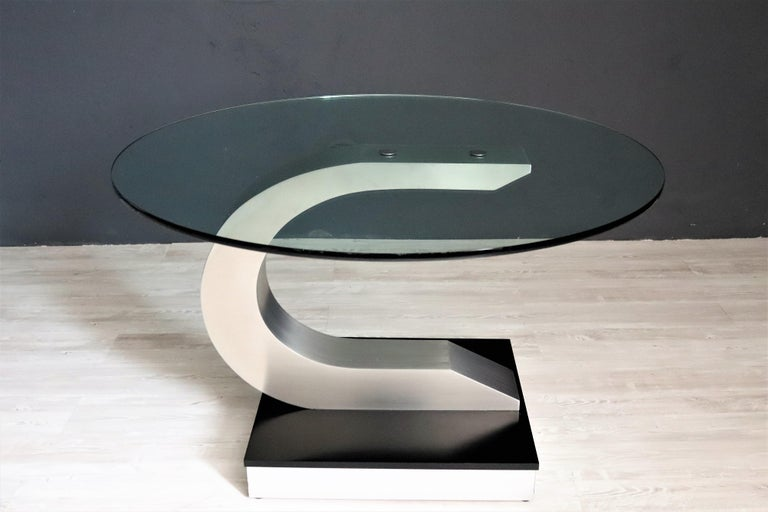 Italian Vintage Dining Table in Stainless Steel and Crystal Glass, 1970s For Sale 10